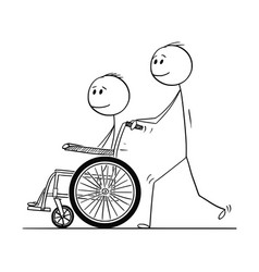 cartoon of man pushing a wheelchair with disabled vector image