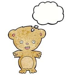 Cartoon teddy bear with thought bubble vector