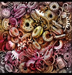cartoon watercolor hand drawn doodles donuts card vector image