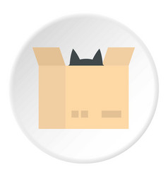 Cat in a cardboard box icon circle vector