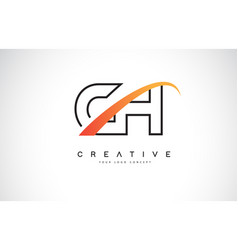 Ch c h swoosh letter logo design with modern vector