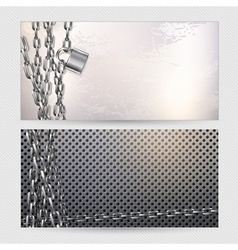 Chain and padlock on metal background vector