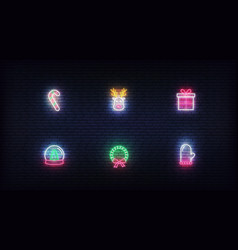 Christmas neon icons glowing neon colorful vector