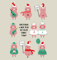 Christmas set with cute pig vector
