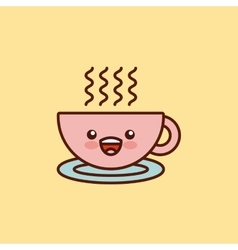 Coffee cup character kawaii style vector