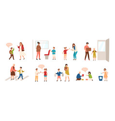 Collection of well-behaved kids isolated on white vector