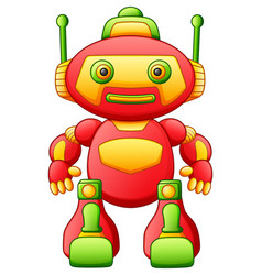Colorful toy cartoon robot isolated on white backg vector