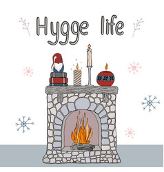 cosy hygge elements vector image