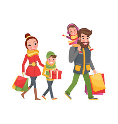 Couple and children bags presents gift boxes vector