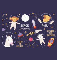 Cute animals in space big set vector