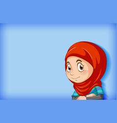 Cute muslim girl on blue background vector