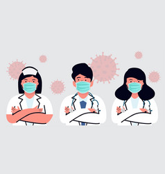 Doctor and nurse medical flat style concept vector