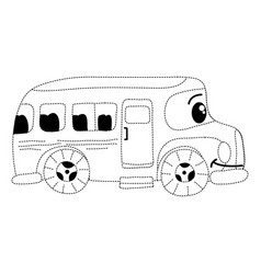 Dotted shape kawaii happy school bus transport vector