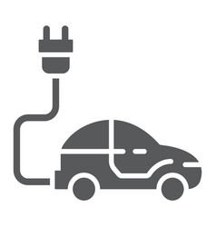 electric car glyph icon ecology car and energy vector image