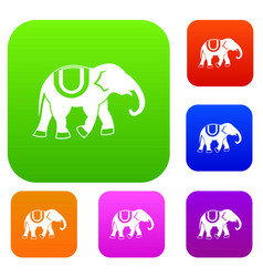 elephant set collection vector image