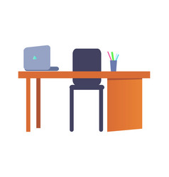 Empty workplace with table plastic chair laptop vector