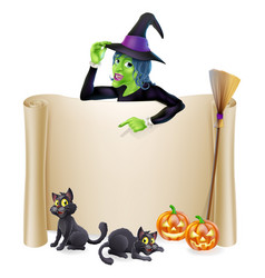 Halloween witch scroll banner vector