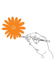hand drawing flower vector image