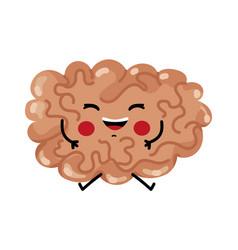 happy brain cute cartoon character vector image