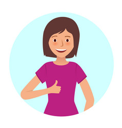 happy girl shows thumb up on white background vector image