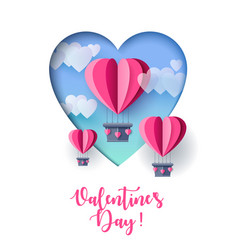happy valentines day paper cut balloon heart vector image