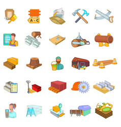 Hard working icons set cartoon style vector