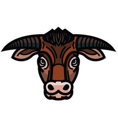 Head of powerful horned bull vector