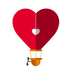 Heart shaped hot air balloon vector