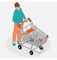 Isometric Grocery Shopping - Walking Vintage Girl vector image