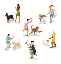 isometric people training dog vector image