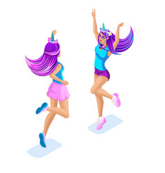 Isometry of a girl jumping having fun colorful vector