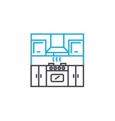 kitchen linear icon concept kitchen line vector image