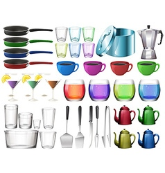 Kitchenware set with glasses vector