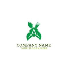 letter a food healthy logo design vector image