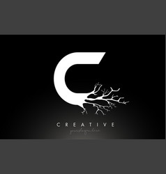 Letter c design logo with creative tree branch c vector