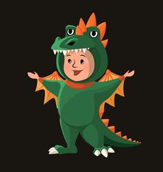 Little boy with dragon costume halloween cartoon vector