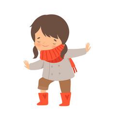 Little girl dressing up herself vector
