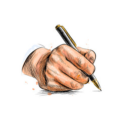male hand with pen from a splash of watercolor vector image