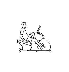 Man on exercise bike hand drawn outline doodle vector