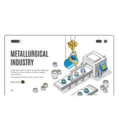 metallurgical industry company isometric banner vector image