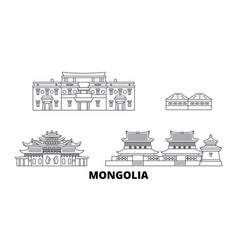 Mongolia line travel skyline set mongolia outline vector