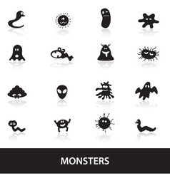 monsters icon collection eps10 vector image