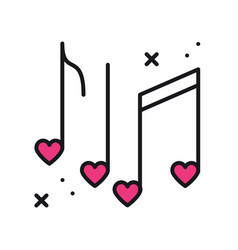 Music notes with hearts line icon disco dance vector
