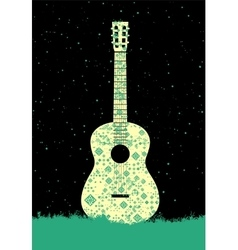 Music poster Folk ornament guitar concept vector
