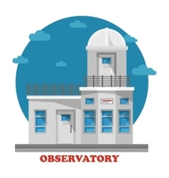 Observatory building at night with telescope vector image vector image