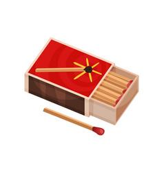 Open matchbox near to one match vector