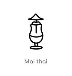 Outline mai thai icon isolated black simple line vector