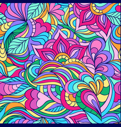 Pattern with abstract flowers and lines vector