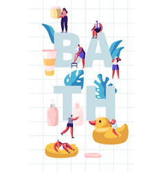people in bathroom concept tiny characters vector image