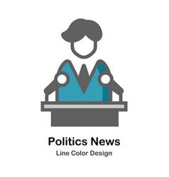 Politics news flat icon vector